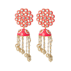 Ferosh Pink Meenakari Ethnic Jhumka For Women - Drop Earrings Online