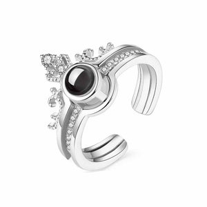 Olivia Princess Stone Silver Statement Ring - Ferosh