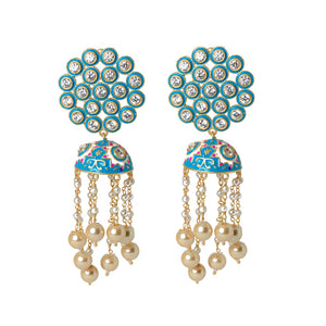 Ferosh Blue Meenakari Ethnic Jhumka For Women - Drop Earrings Online