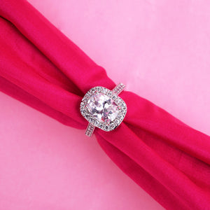 Palesa Cushion Diamond Silver Ring - Ferosh