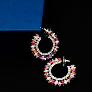 Ferosh Fashion Pink Stone Hoop Drop Earrings For Women - Earrings Online