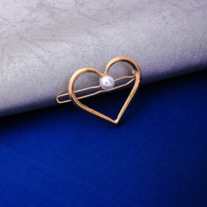 Phyllis Golden Pearl Heart Hair Pin - Ferosh