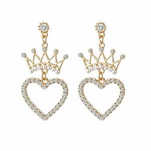 Ferosh Phoebe Heartful Queen Rhinestone Drop Earrings