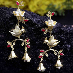 Ferosh Pakhi Ruby Red Golden Drop Ethnic Earrings