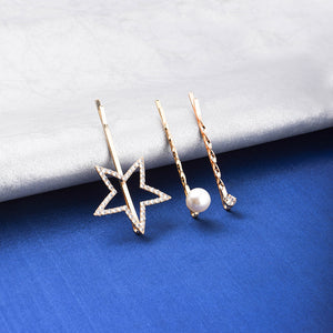 Quella Star Crystal Pearl 3 Hair Pin Set - Ferosh