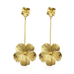 Ferosh Ryia Blossoming Flower Golden Drop Earrings