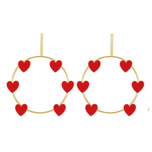 Red Hearts Open Circle Earrings - Ferosh