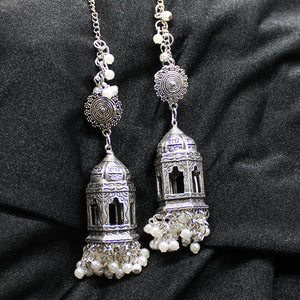 Radhe Krishna Bhakti Pearl Silver Drop Earrings - Ferosh