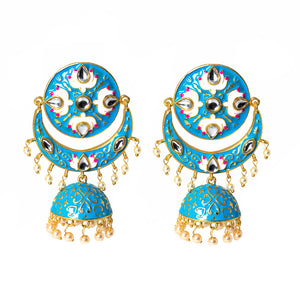 Ferosh Enamel Ethnic Gold Jhumki For Women - Drop Earrings Online