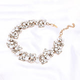Ruzena White Rhinestone Statement Necklace - Ferosh