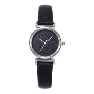 Shimmery Black Glittery Leather Watch - Ferosh