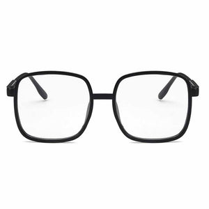 Solid Black Curved Square Glasses - Ferosh