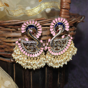 Sriha Peach Blue Pearl Swan Earrings - Ferosh