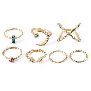 Samara Casual Golden Embellished Ring Set - Ferosh