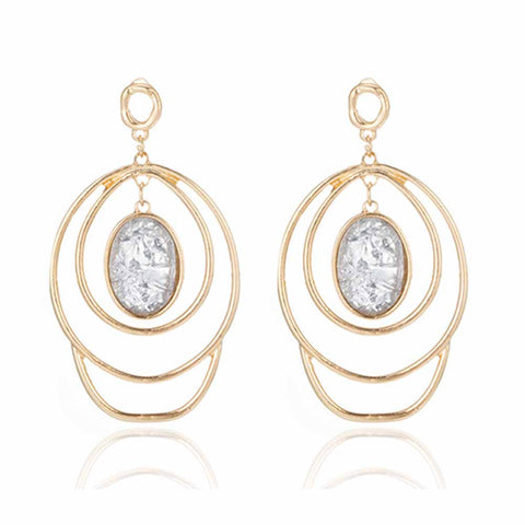 Stone Charm Layered Hoop Earrings - Ferosh