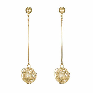 Ferosh Stephanie Enchanted Pearl Golden Drop Earrings