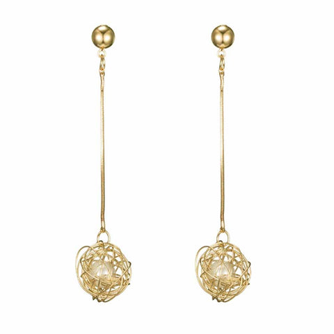 Stephanie Enchanted Pearl Golden Drop Earrings - Ferosh