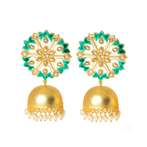 Suhanisa Floral Golden-Green Pearl Jhumki Earrings - Ferosh