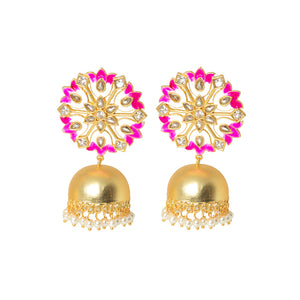 Suhanisa Floral Golden-Pink Pearl Jhumki Earrings - Ferosh