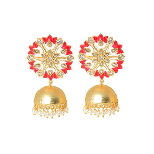 Suhanisa Floral Golden-Red Pearl Jhumki Earrings - Ferosh