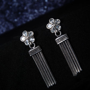 Savri Floral Rhinestone Silver Oxidized Drop Earrings - Ferosh