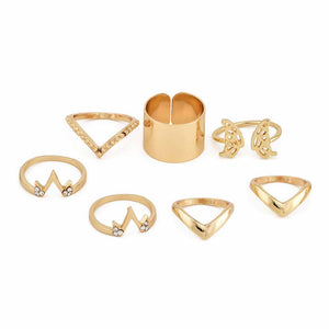 Ferosh Stacie Golden Butterfly Statement Ring Set