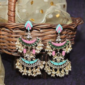 Sanaz Gold-Pink Layered Pearl Chandbali Earrings - Ferosh