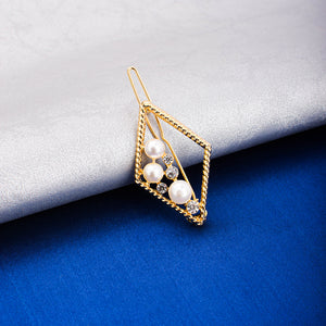 Stacie Golden Rhombus Pearl Hair Pin - Ferosh