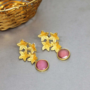 Star-Leaf Golden Pink Drop Earrings - Ferosh