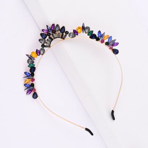 Soraya Multi-Coloured Crystal Tiara Hair Band - Ferosh