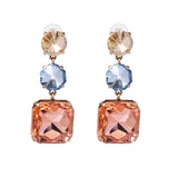 Sepia Multi-Coloured Layered Crystal Stone Earrings - Ferosh