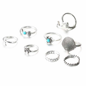 Marine Silver Oxidized 8 Pcs Ring Set