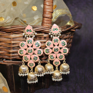 Saadhiya Orange Green Meenakari Layered Jhumki Earrings - Ferosh