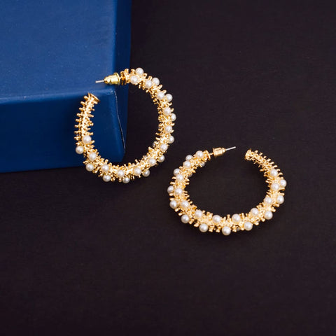 Sophia Golden Pearl Hoop Earrings - Ferosh