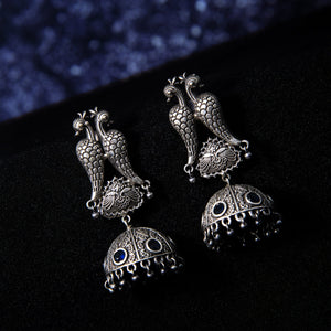 Sriya Silver Oxidized Mor Jhumki Earrings - Ferosh