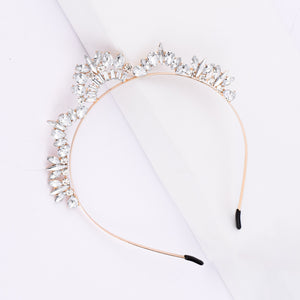 Soraya White Crystal Tiara Hair Band - Ferosh