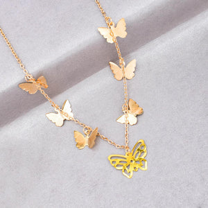 Trifine Golden Butterfly Necklace - Ferosh