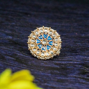 Triya Golden Stonework Blue Heart Pearl Ring