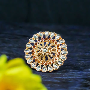 Udyati Circular Star Stonework Golden Ring