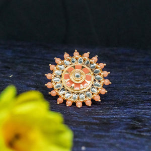 Urmi Pastel Golden Stonework Statement Ring - Ferosh