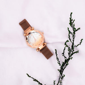 Diana Rose Gold Glitter Night Glow Watch - Ferosh