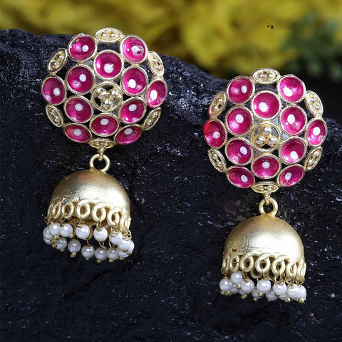 Kanishka Golden-Pink Jhumki Earrings - Ferosh