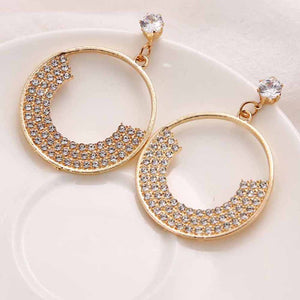 Ferosh Gemma Golden Circular Rhinestone Drop Earrings