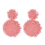Marielie Coral Pink Beaded Drop Earrings - Ferosh