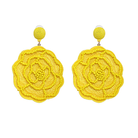Raisa Cheerful Yellow Beaded Floral Drop Earrings - Ferosh