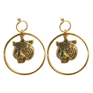 Ferosh Kefira Golden Tiger Loop Drop Earrings