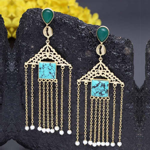Moksh Tassel Designer Indo Western Earrings - Ferosh