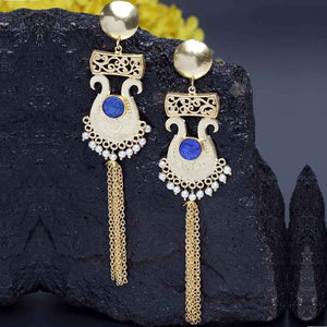 Vamika Royal Blue Stone Golden Pearl Tassel Earrings - Ferosh