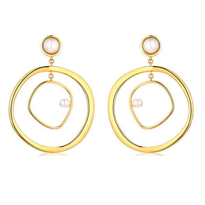 Ferosh Fathiya Golden Pearl Loop Dangler Earrings