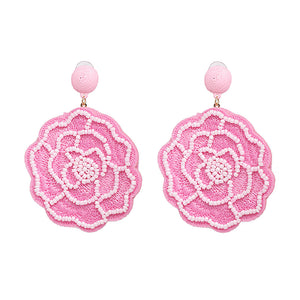 Raisa Cheerful Pink Beaded Floral Drop Earrings - Ferosh